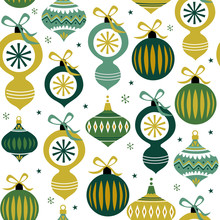 Seamless Christmas Baubles With Green Color. Christmas Pattern Vector Illustration