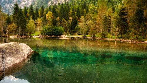 Photo lake in the forest, Mello Valley, Lombardy Italy