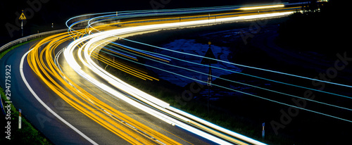 Obraz lights of cars with night - fototapety do salonu