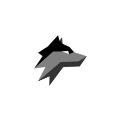 geometric head wolf logo vector