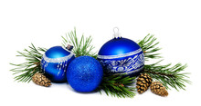 Christmas Decoration Blue Balls With Fir Cones And Fir Tree Branches Isolated