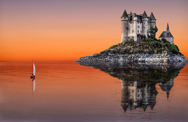 Medieval castle on the rock in the water and the sailing boat with reflections. Calm sunset in Auvergne, France.