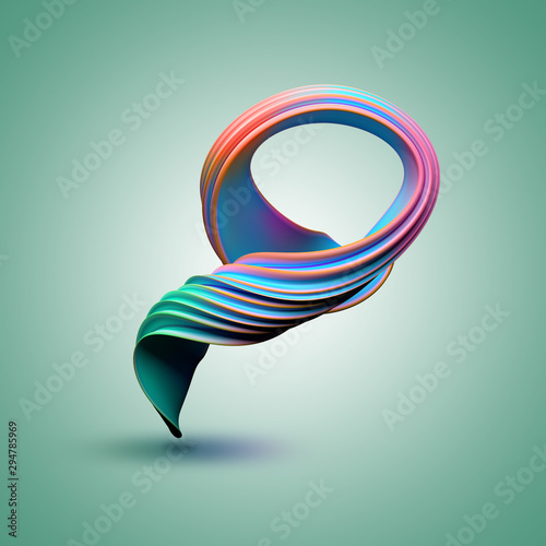Colorful swirl on a green background. 3D render / rendering - 294785969