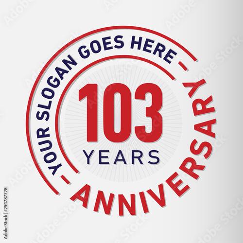 Fotografia  103 years anniversary logo template