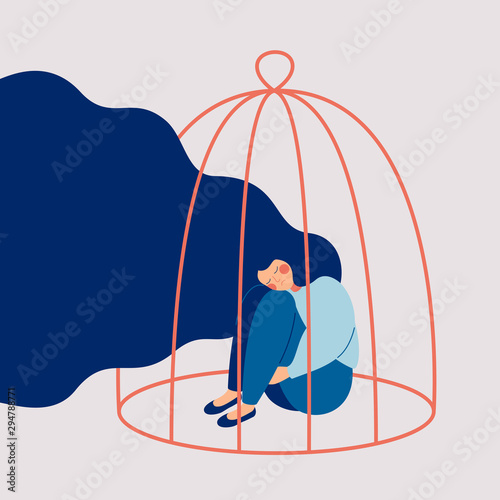 Obraz Young sad woman locked in a cage. Concepts of restrictions on the ability of women in society. Human character illustration - fototapety do salonu