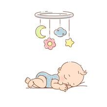 Little Baby Boy Sleep Under Mobile Toy.