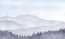 山の風景 水彩画