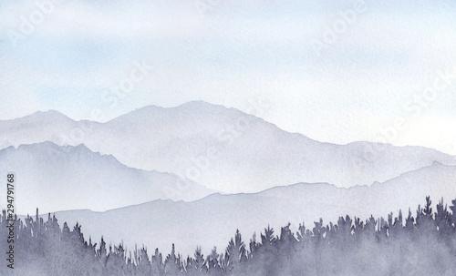 山の風景 水彩画 Tablou Canvas