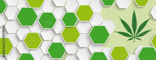 Hexagon Structure Hemp Leaf Header Canvas Print