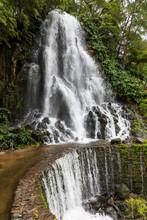 Waterfall In Parque Natural Doa Ribeira Dos Caldeiroes, Sao Miguel, Azores, Portugal