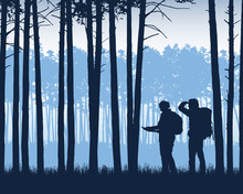 Realistic Illustration Of Landscape With Coniferous Forest With Pine Trees Under Blue Sky. Two Tourists, Man And Woman With Backpacks Looking For A Way On The Map, Vector