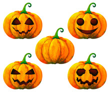 Set Pumpkin Halloween Watercolor Painting Illustration Design White Isolated Clipping Path