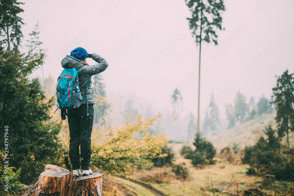 Fototapety, obrazy: Young Woman Standing On Stump In Forest And Looking Into Distance In Deforestation Zone. Back View. First Snow is Falling
