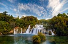Krka National Park-panorama Of The Waterfall Against The Beautiful Evening Sky,Skradinski Buk Waterfall