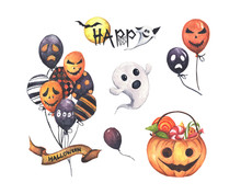 Watercolor Halloween Set. Holiday Illustration For Design. In The Picture: Air Balloon, Pumpkin Basket, Little Ghost And Halloween Text Banner.