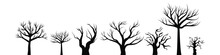 Black Silhouette Of A Tree Without Leaves. Halloween Set Vector Illustration