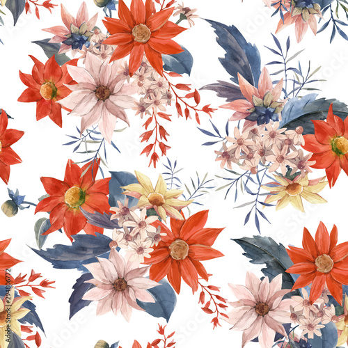 Watercolor floral seamless vector pattern