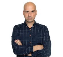 Angry Bald Man With Hands Folded Isolated