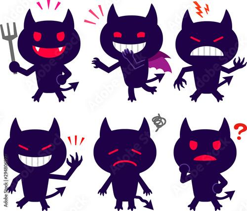 かわいい悪魔の表情イラストセット Canvas Print