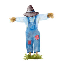 Watercolor Illustration With Garden Scarecrow And Green Grass Isolated On White Background. Hand-drawn Clipart.