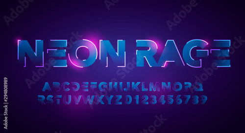 Vector Illustration Modern And Futuristic Neon Alphabet Font Wallpaper Mural