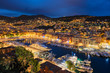 Leinwanddruck Bild - View of Old Port of Nice with yachts, France in the evening