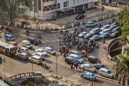 Jakarta, Indonesia - September 13, 2009: aerial view at a crossroad with many cars and motorbikes in a traffic jam