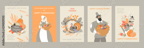 Set of thanksgiving banners with cute pilgrim characters and emblems from plants Canvas Print