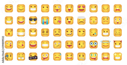 set of squares emoticons faces characters Wallpaper Mural