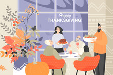 Vector Illustration Of A Happy Family Celebrating Thanksgiving