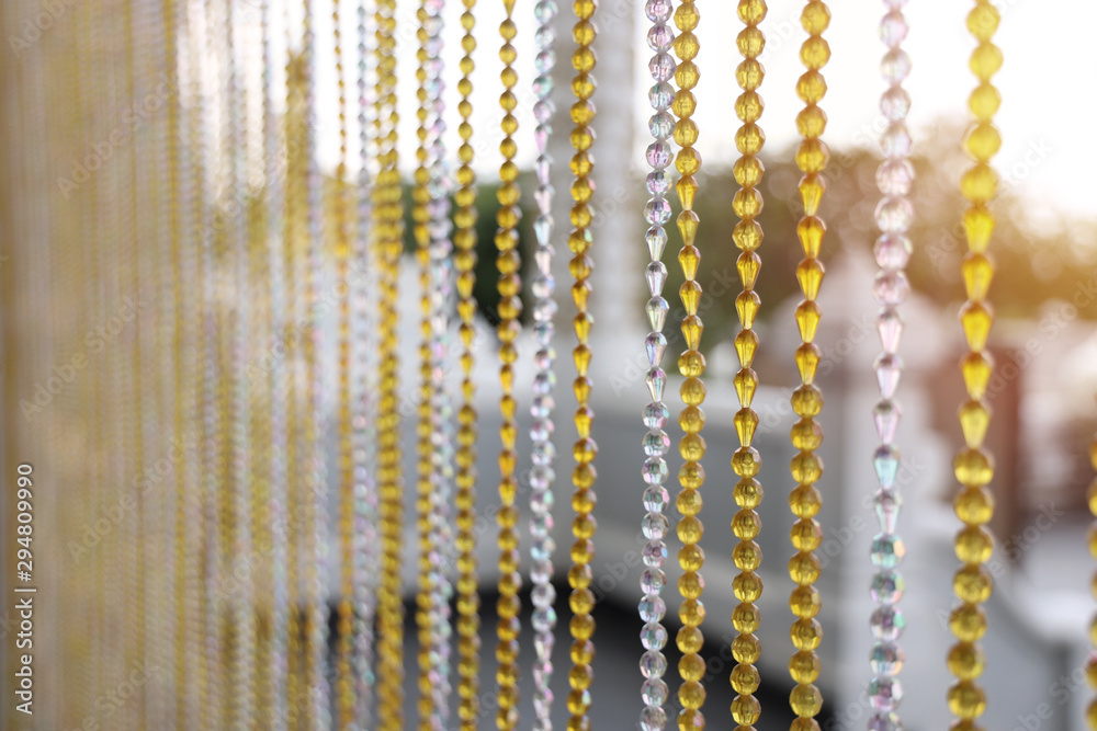 Fototapety, obrazy: Close up Bead curtains close in and out of the church Of a temple