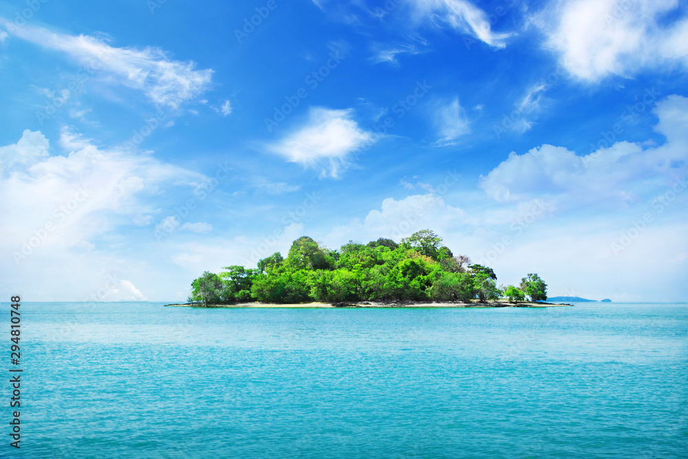 Fototapeta Tropical island and clouds