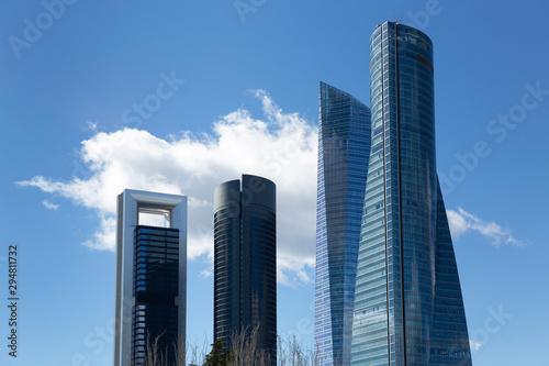 Rascacielos de Madrid con cielo azul y nubes Wallpaper Mural
