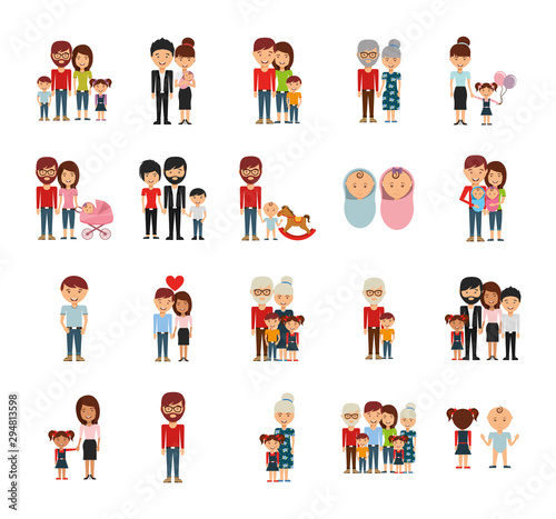 Family members icon set vector design Poster Mural XXL