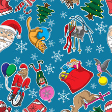 Seamless Christmas Background With Cartoon Characters Snowflakes On Blue Background. Vector Image.