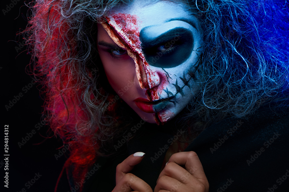 Fototapety, obrazy: Close up of girl with halloween makeup wearing black cape