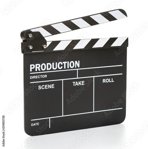 Fotografia movie clapper board isolated on white