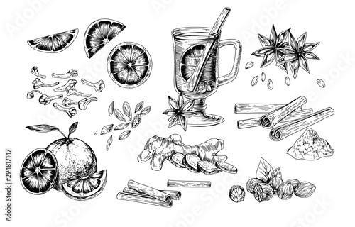 Foto Mulled wine and spices realistic vector illustrations set