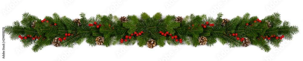 Fototapeta Christmas frame of tree branches