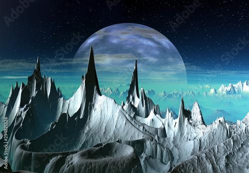 Aluminium Prints Dark grey 3D Rendered Fantasy Alien Landscape - 3D Illustration