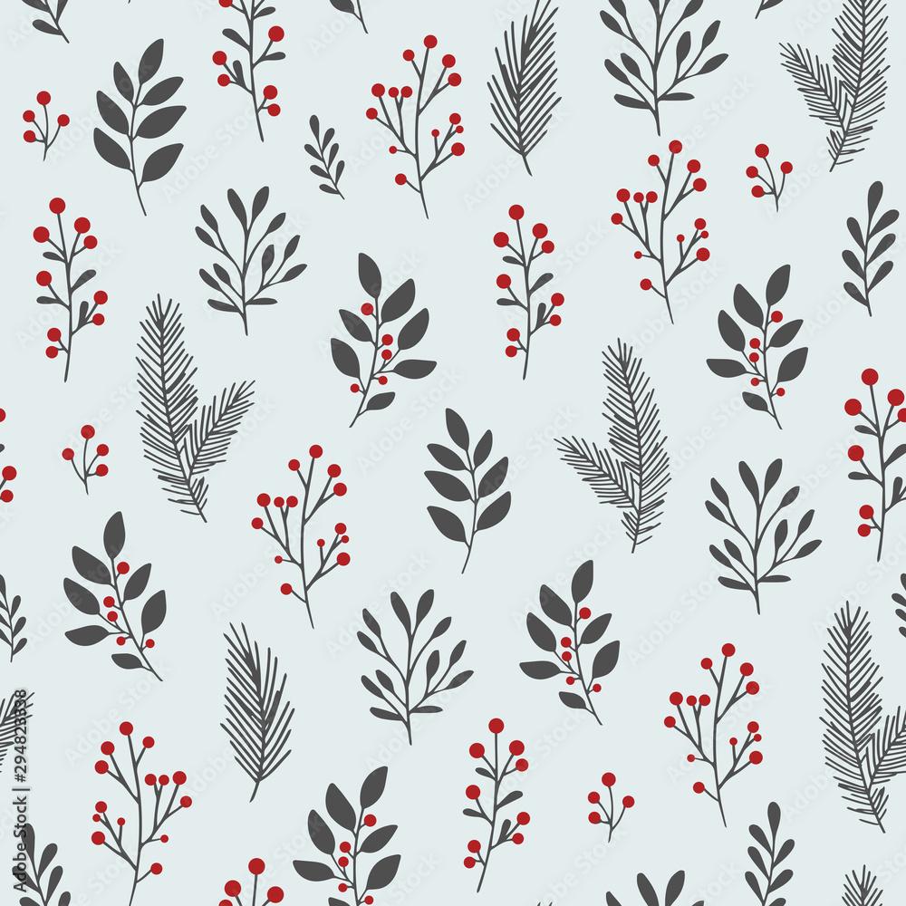 Ręcznie rysowane wektor zima kwiatowy wzór. Bezszwowe tło z zimowych gałęzi i liści. Ręcznie rysowane elementy kwiatowe. Vintage ilustracje botaniczne.