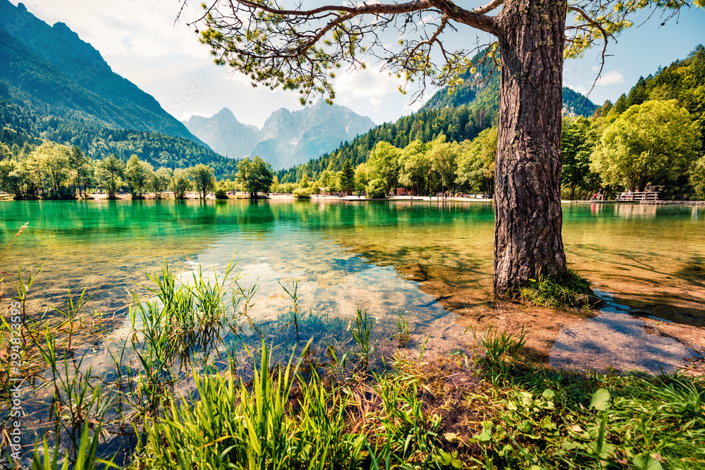 Fototapety, obrazy: Perfect morning view of Jasna lake. Fabulous summer scene of Julian Alps, Gozd Martuljek location, Slovenia, Europe. Wonderful landscape of Triglav National Park. Traveling concept background.