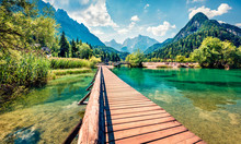 Incredible Morning View Of Jasna Lake. Splendid Summer Scene Of Julian Alps, Gozd Martuljek Location, Slovenia, Europe. Wonderful Landscape Of Triglav National Park. Traveling Concept Background.