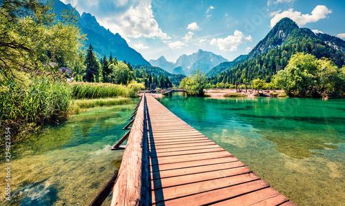 Cadres-photo bureau Ponts Incredible morning view of Jasna lake. Splendid summer scene of Julian Alps, Gozd Martuljek location, Slovenia, Europe. Wonderful landscape of Triglav National Park. Traveling concept background.