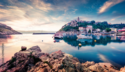 Attractive morning cityscape of Vrbnik town. Captivating summer seascape of Adriatic sea, Krk island, Kvarner bay archipelago, Croatia, Europe. Beautiful world of Mediterranean countries.