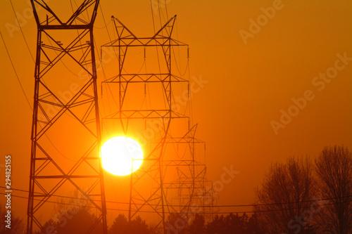 environnement electricité soleil fil cable pilone Wallpaper Mural