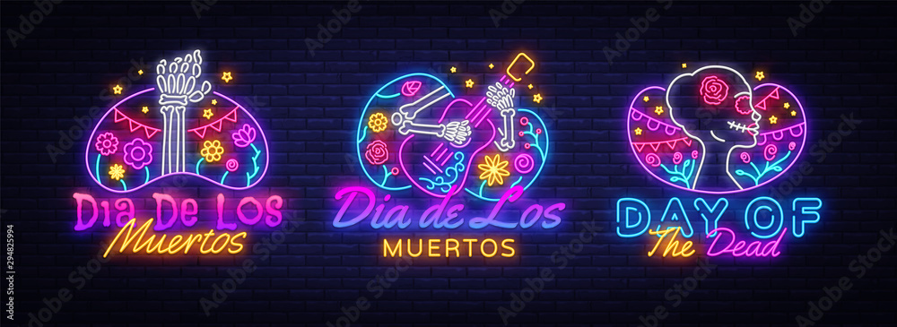 Fototapeta Day of the dead Neon signs set Vector. Dia de los moertos neon icons collection. Fiesta, holiday poster, party flyer, greeting card, design template, modern trend design. Vector illustration
