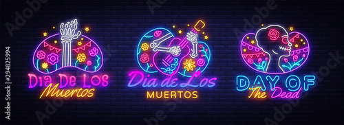 Fototapeta  Day of the dead Neon signs set Vector