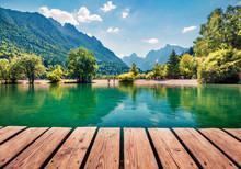 Amazing Morning View Of Jasna Lake. Wonderful Summer Scene Of Julian Alps, Gozd Martuljek Location, Slovenia, Europe. Wonderful Landscape Of Triglav National Park. Traveling Concept Background.