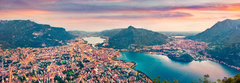 Fototapety, obrazy: Panoramic summer scene of Como lake. Aerial evening cityscape of Lecco town with Resegone mount on background,  Italy, Europe. Traveling concept background.